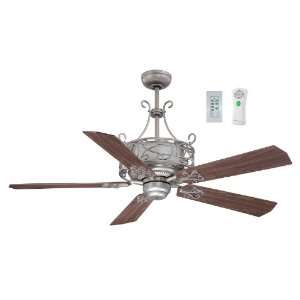 Del Rey Collection 54 Antique Nickel Ceiling Fan with Golden Maple