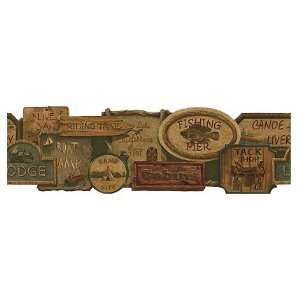 Rustic Signs Olive Die Cut Wallpaper Border by 4Walls