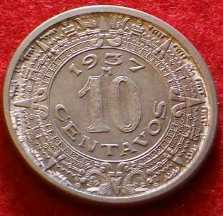 Mexico 1937 10 Centavos Beautiful Mexican Coin KEY DATE