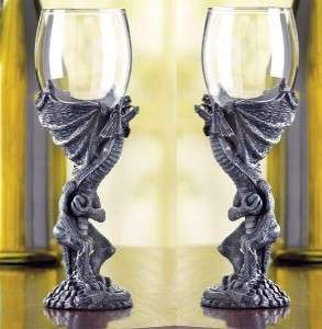 Set of 2 Gothic Medieval Dragon Goblet Fantasy Glasses