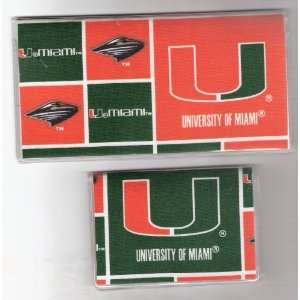 Checkbook Cover Debit Set University of Miami Hurricanes