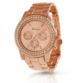 Rose Gold Plated Classic Round CZ Ladies Boyfriend Watch Watches