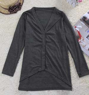 Women Ladys korean fashion cotton Asymmetric botton down thin coat