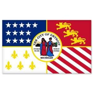 Detroit Michigan City Flag car bumper sticker window decal
