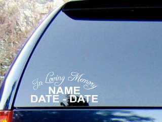 In Loving Memory Personalized Decal Sticker / Color Choice in High