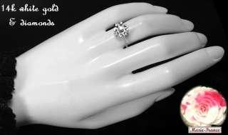 Charming estate 14k white gold diamond rosette ring rings M F