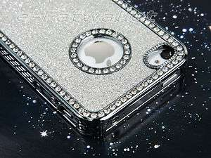 Silver Luxury Bling Glitter Hard Cover Case For Apple iPhone 4 4S 4G