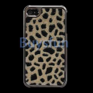 New Leopard print faux fur Chrome Metallic Hard Cover Case for iPhone