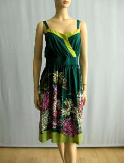Maeve Anthropologie Teal Green Floral Silk Dress 12