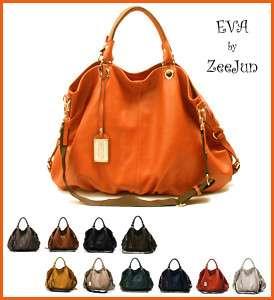 MADE IN KOREA] NEW Genuine Leather Shoulder Tote Hand Bag Purse   EVA