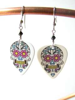 Sugar Skull Guitar Pick Earrings Dia de los Muertos