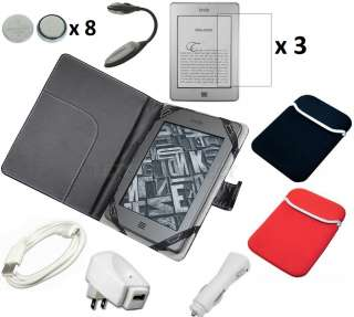 Mega 20 Item Black Leather Case Cover Bundle Kit Charger for