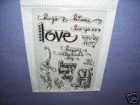 STAMPENDOUS RUBBER STAMP CLEAR LOVE MESSAGES SET