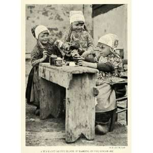 1923 Print Tea Party Dutch Children Island Marken Costumes