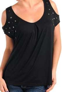 Black Stud Shoulder Split Cap Sleeve Plus Top