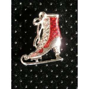 Ice figure skating pin silver red skate boot pin