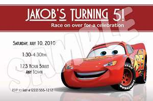 Cars Lightning McQueen Birthday Invitations  YOUR Info