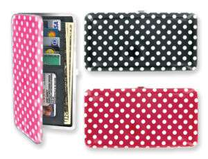 Flat Pink Polka Dot Wallet Hard Case Black Red New 722950157688