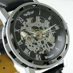 Silver & Black Automatic Mechanical Men Leather Watch