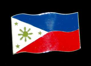 Nation of Philippines   Philipino Flag Belt Buckle