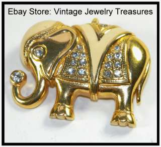 Vintage KJL Kenneth Jay Lane 4 Avon Gold Enamel Rhinestone Elephant