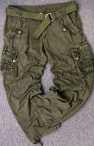 BNWT MENS MILITARY STYLE CARGO PANTS W/BELT (7 COLORS)
