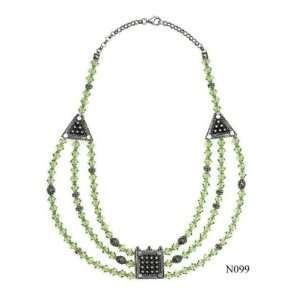 Silver and Swaorvski Crystal Beaded Necklace