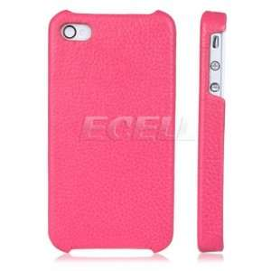 Ecell   PINK TEXTURED LEATHER HARD BACK CASE FOR iPHONE 4