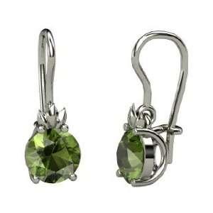 Gem Flame Earrings, Round Green Tourmaline Platinum Earrings Jewelry