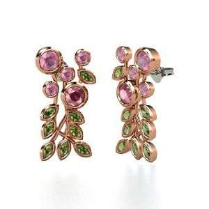 Garnet 18K Rose Gold Earrings with Green Tourmaline & Pink To Jewelry