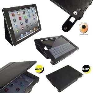 iGadgitz Portfolio Black Genuine Leather Case Cover for Apple iPad 2