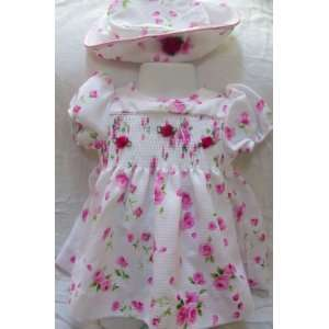 : Baby Girl 6 9 Months, White with Pink Flowers 2 Piece Summer Dress