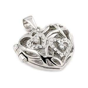 Heart Shape Locket Sterling Silver Pendant With 2 Cut Out Cz Hearts