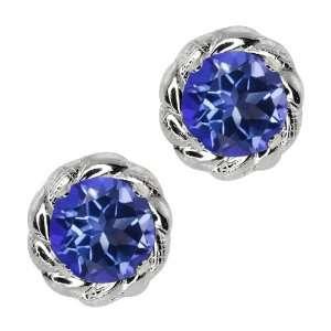 Tanzanite Blue Mystic Topaz Sterling Silver 4 prong Stud Earrings