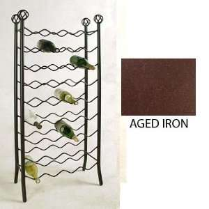 WINE RACK WROUGHT IRON WALL MOUNT GRAPE LEAF DESIGN HOLDS 3