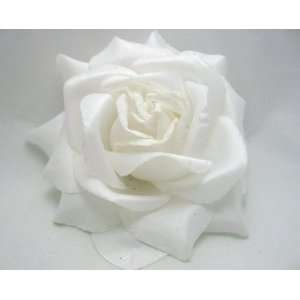 NEW Large White Rose Hair Flower Clip and Pony Tail Holder