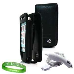 iPhone 4 leather Case Accessories Kit BLACK Melrose Leather Flip Case