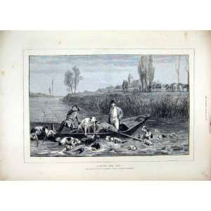 1872 Landing Stag Hunting Dogs Boat River Horses Print Home & Kitchen