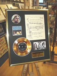 KURT COBAIN NIRVANA GOLD DISC FRAMED LYRICS MONTAGE