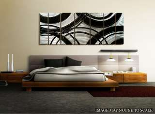 Abstract Silver/Black Metal Wall Art Decor SculptureCrossroads XL