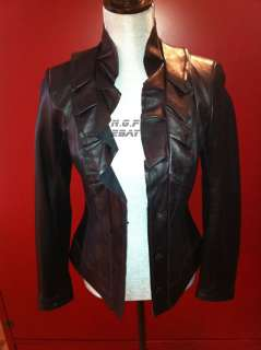 Tahari Lux Ruffled Black Detailed Soft Leather Top Jacket XS