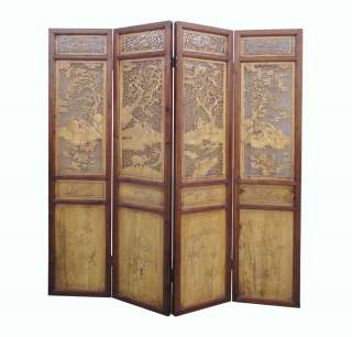 Set/Four Pieces Chinese Antique Boxwood Four Seasons Room Divider