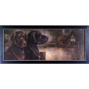 Chocolate Labs Dogs Lake Cabin Decor Framed Print: Home & Kitchen