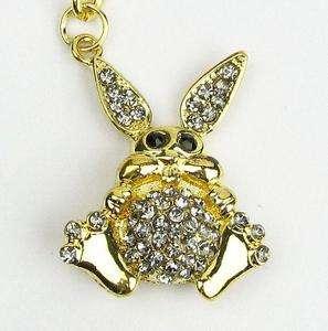 Cute Purple Rhinestone Crystals Golden Rabbit Key Chain