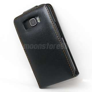 FLIP LEATHER CASE COVER FOR HTC TOUCH HD2 HD 2 BLACK