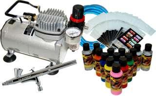 NAIL ART AIRBRUSH KIT SET Air Compressor Paint 20pk Stencil Design