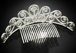 Bridal flower swarovski crystals tiara crown hair comb