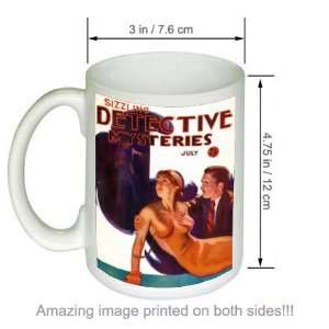 Sizzling Detective Mysteries Pulp Cover Art COFFEE MUG