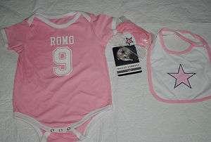 NWT TONY ROMO DALLAS COWBOY ONESIE BABY PINK 18 M 24 M