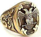 double headed eagle empire gold brass ring 15 5 byzantine